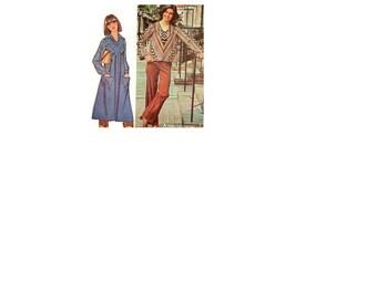 Disco Style Boho Hippie Maxi Dress Retro Fashion 1970s McCall's 5373 Sewing Pattern Tunic Shirt V Neckline Yoke Uncut FF Bust 44 Plus Size