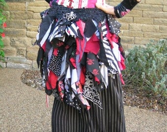 Tatter Bustle choice of style TO ORDER. Burning Man, Steampunk pirate, tribal belly dance, festival, gypsy, faery costume, Goth, burlesque