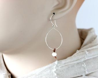 Handmade sterling silver hoop earrings | hand knotted white freshwater pearls |  bohemian silver hoops | artisan jewelry | girlthree