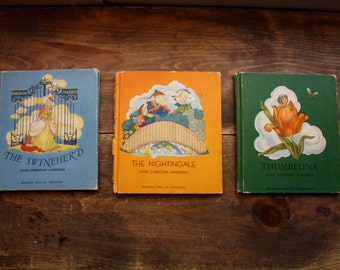 Vintage 1950's  Hans Christian Andersen Stories / Gorgeous Illustrations  / Paper Ephemera / Thumbelina, The Nightingale, The Swineherd