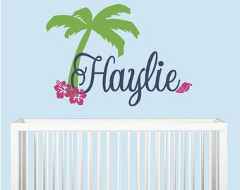 Palm Tree Surfer Girl's Personalized Name Wall Decal with Hibiscus Flower and Sea Shell - Beach Room Decor - Hawaiian Surf Vinyl Wall Decal