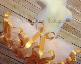 Light Pink and Gold Satin Ribbon Trim Tutu