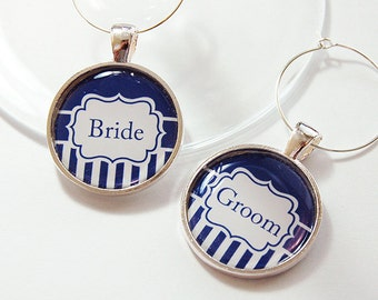 Bride Groom Wine Charms, Wine Charms, Wedding Wine Charms, blue, stripes, Wedding Shower, Bridal Shower, table setting, silver plate (4198)