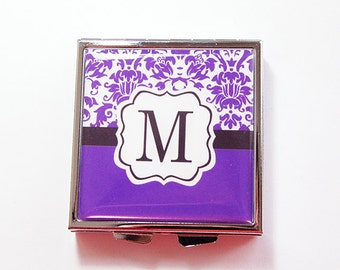 Monogram Pill case, Monogram Pill box, Square Pill box, 4 Sections, personalized gift, Custom pill case, pink, teal, purple (4297)