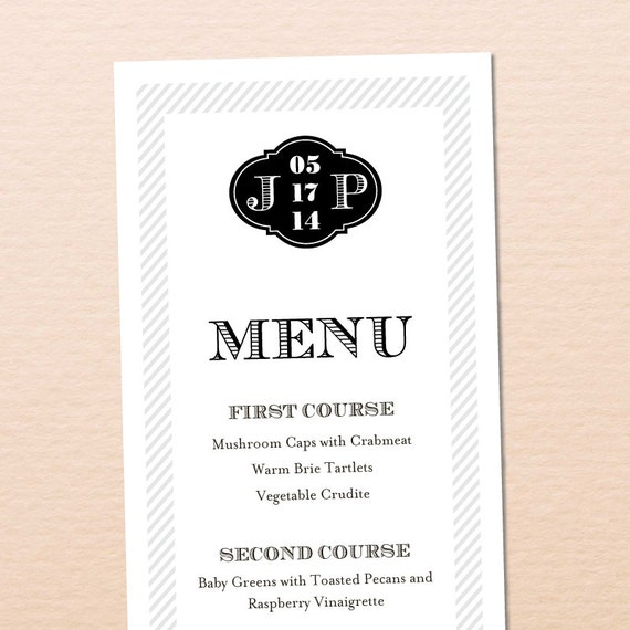 Vintage Stripes Printable Wedding Menu - DIY, Elegant, Black, White