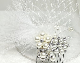 Bridal Hair Comb-Feather & Birdcage Veil Hair Comb-Wedding Hair Accessories-Pearl and Rhinestone- Comb-Bridal Hair Accessories-Brass Boheme