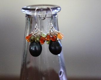 Freshwater Pearl, Peridot, and Carnelian Earrings