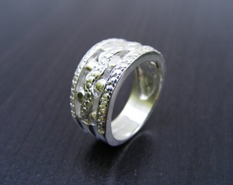 15% Off Sale.S147 Made to Order...New Sterling Silver Modern Intricate Wide Band Ring