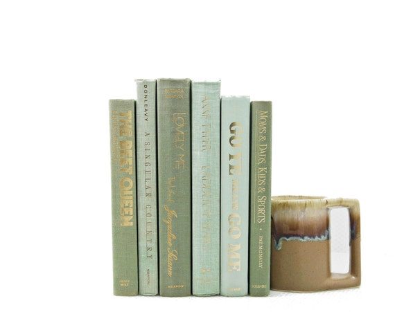 MINT SAGE GREEN Decorative Books, Book Decor, Wedding Decor, Home Library, Table Settings, Gift, Centerpiece, Book Collection Set, vintage