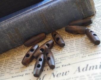 "12 pcs Dark Brown Wood Toggle Buttons 3 x 1cm (1-1/8"" x 3/8"")  ((WB881)"