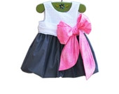 Wedding - Formal Baby Dress - 1st Birthday Baby Dress -  Flower Girl - Large Bow Bash - Dark Gray - KK Children Designs - 6M to 7