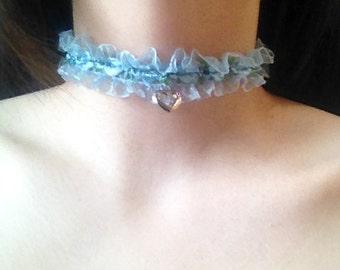 Kawaii Fairy Kei Lolita Pet Play Harajuku Pastel Goth Soft Grunge Blue Floral Choker Collar