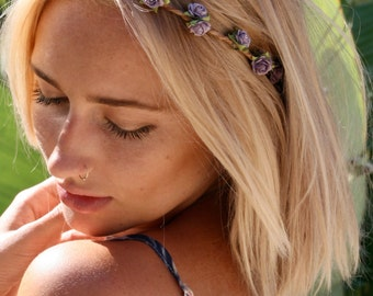 Dainty Flower crown, flower headband, violet flower crown, coachella, festival flower crown, wedding, day of the dead, flower halo