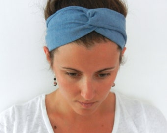 Light Blue Chambray Denim Turban Wrap Headband