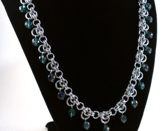 Sparkling Green and Purple Faceted Glass Byzantine Crown Chainmaille Necklace