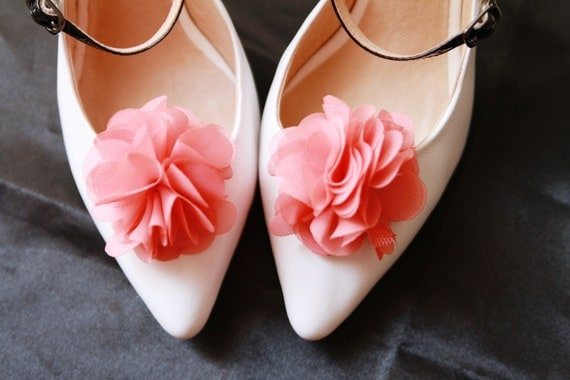 Wedding Shoe Clips Bridal Shoe Clips - Rustic Wedding Boho Wedding Bridal Engagement Party Bride Bridesmaid - Coral Pink Chiffon Flowers
