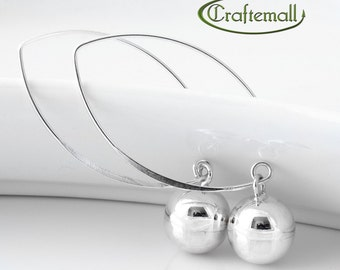 Clearance: Sterling silver earrings - long dangle earrings with round bead