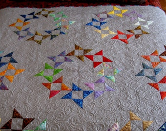 Handmade Patchwork Quilts for Sale - Modern Pinwheel - Patchwork Quilts - Free Shipping