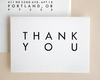 Thank You Cards Bulk - Wedding - Mid Century Modern Style - Folded Utility