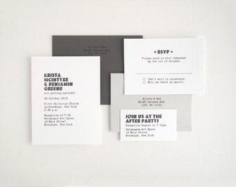 VASA - Modern Letterpress Wedding Invitation - Bold Unique Typewriter - Black Gray White - Sample
