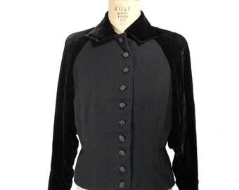 vintage 1940's tailored velvet jacket / Hollinsworth's / black / wasp waist / dolman sleeve / women's vintage jacket / size small