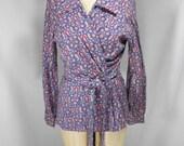 vintage 1970s paisley wrap blouse / size large