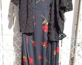 Red Roses on Black Womens Size 20   Long Black Sleeveless Summer Dress Set 2X
