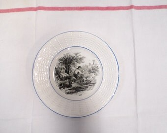 French Antique Digoin Sarreguemines Black Transferware Plate Fishing (w832)