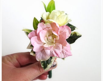 Faux Wedding Boutonniere - Anniversary Boutonniere - Prom Boutonniere - Father's Day Boutonniere - Pale Yellow Rose/Pink Delphinium