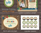 Vintage Fishing Birthday Party Package - Fishing Birthday - Fishing Party - Rustic Birthday - Fishing DIY Printable