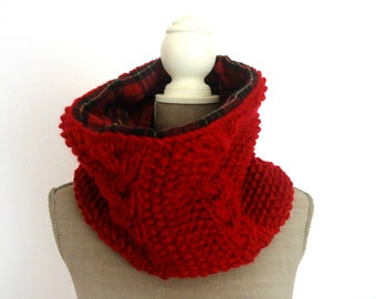 Double Side Knit Cowl, Plaid Scarf, Circle Cowl Scarf