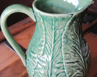 Vintage Green Lettuce Leaf Pitcher/Creamer, Garden Vegetable Pitcher
