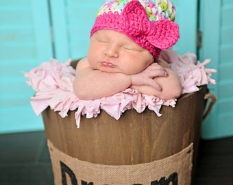 Newborn baby girl hat, baby girl hat, bow beanie, bow hat, newborn girl photo prop, coming home outfit, baby girl clothes, hot pink, infant