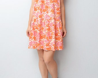 Vintage boho orange pink blossom floral dress