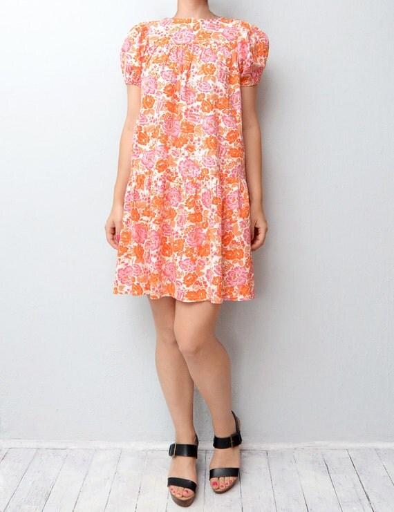 Vintage boho orange pink blossom floral dress