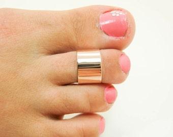 14K Rose Gold Wide Toe Ring - Real 14 Karat Rose Gold Toe Ring -  Super Wide 14K Rose Gold Toe Ring - 14K Rose Gold Toe Cuff