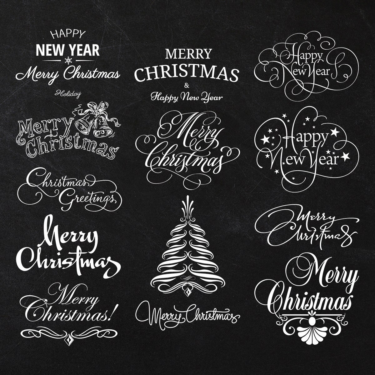 Word Art Black And White Christmas decoration elements and clipart ...