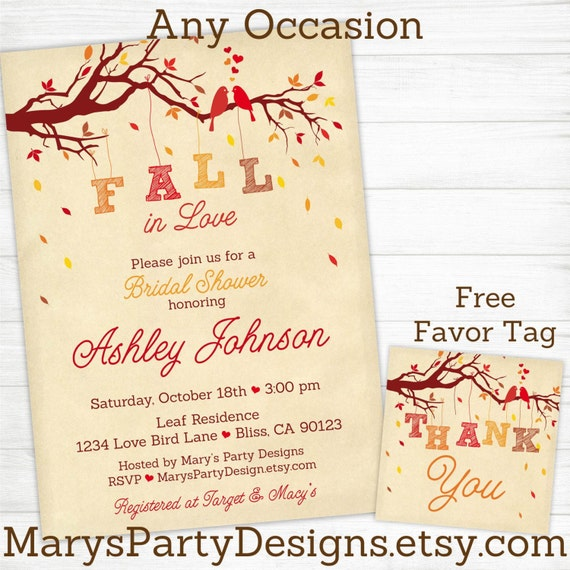 Fall in Love Bridal Shower Invitations by MarysPartyDesigns
