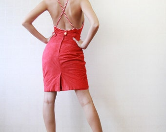Red soft quilted suede leather high waist pencil skirt XS