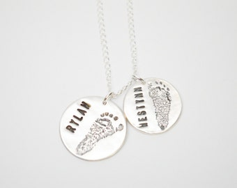 Two Custom Baby Footprints Necklace, Sterling Silver