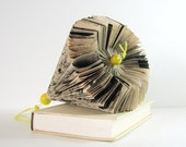 Book Paper Sculpture Large Paper Cog Neutral Home Decor Paper Anniversary Hanging Ornament Recycled Book Art Yellow Home Decor Geometric Art