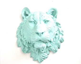 SEA BREEZE Faux Taxidermy Large Tiger Head wall mount home decor:  Tommy the Tiger in sea breeze blue (light-light blue)