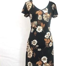 90s Grunge Black Floral Dress