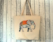 Elephant Illustration Large Canvas Tote Bag, Reusable Shopper Bag, Cotton Tote, Shopping Bag, Eco Tote Bag