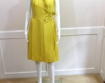 Yellow Sleeveless Silk Dress Size Small 4 6