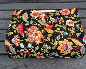 Insulated Casserole Carrier Flowers on Black with Turquoise, Personalization Available