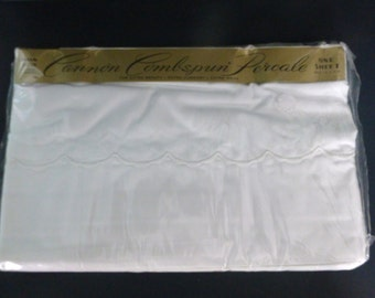 Vintage Cannon Combspun White Twin Sheet -- New in Package, Cotton Percale, Embroidered Scallop Design