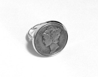 "Mercury Dime Ring - ""Dime In"" Diamond Ring Play on Words - Free Shipping"
