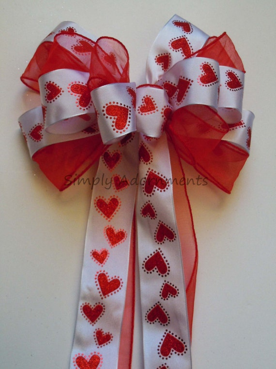 Red Heart Valentine Wreath Bow Red White Hearts Wedding decoration Bow Valentine Showers Bow Party Birthday Valentine Gift Bow