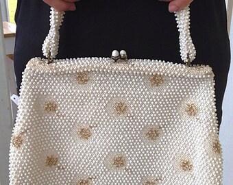 vintage cream with gold beading handbag purse, 1960s, holiday purse, holiday handbag